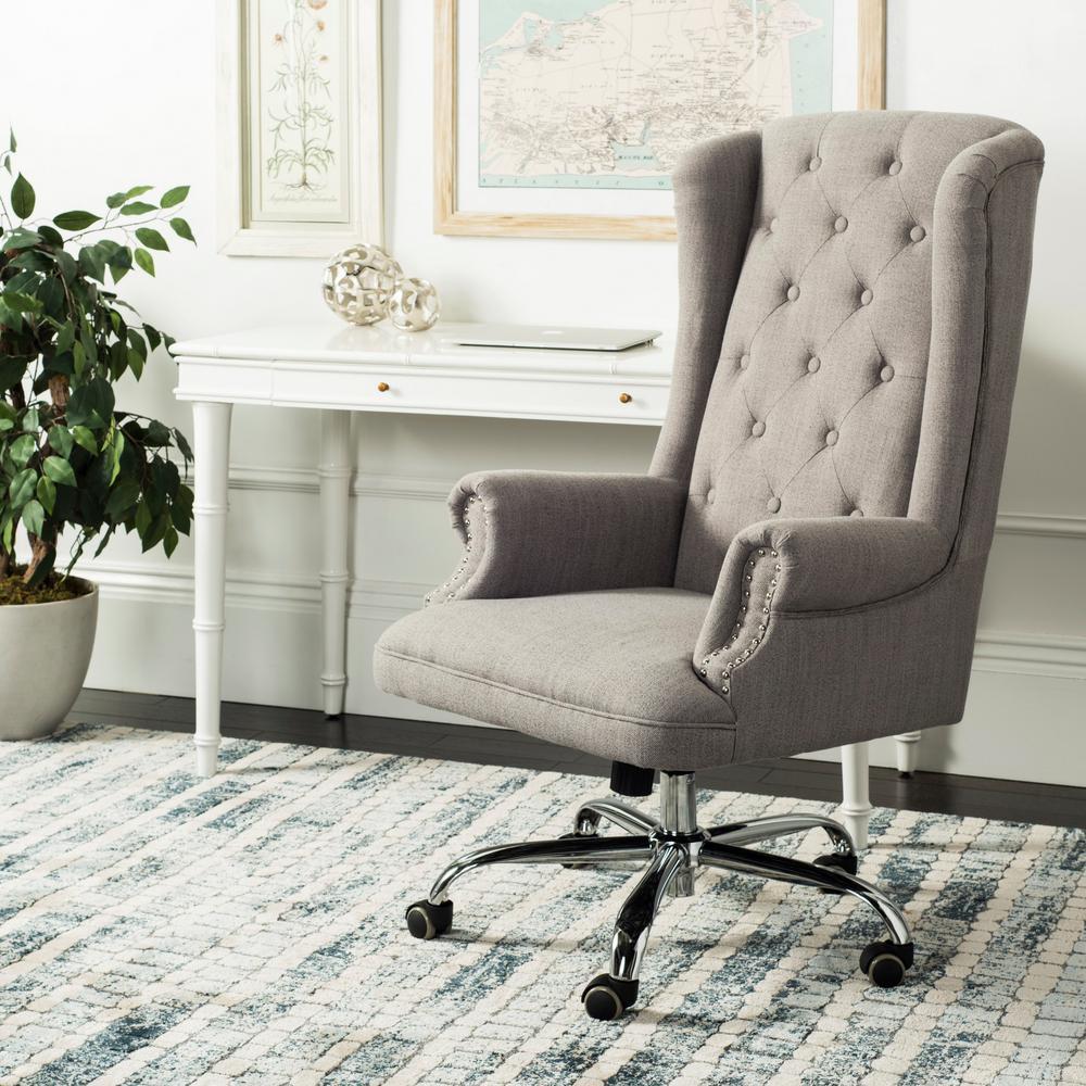 Ian Gray/Chrome Linen Swivel Office Chair
