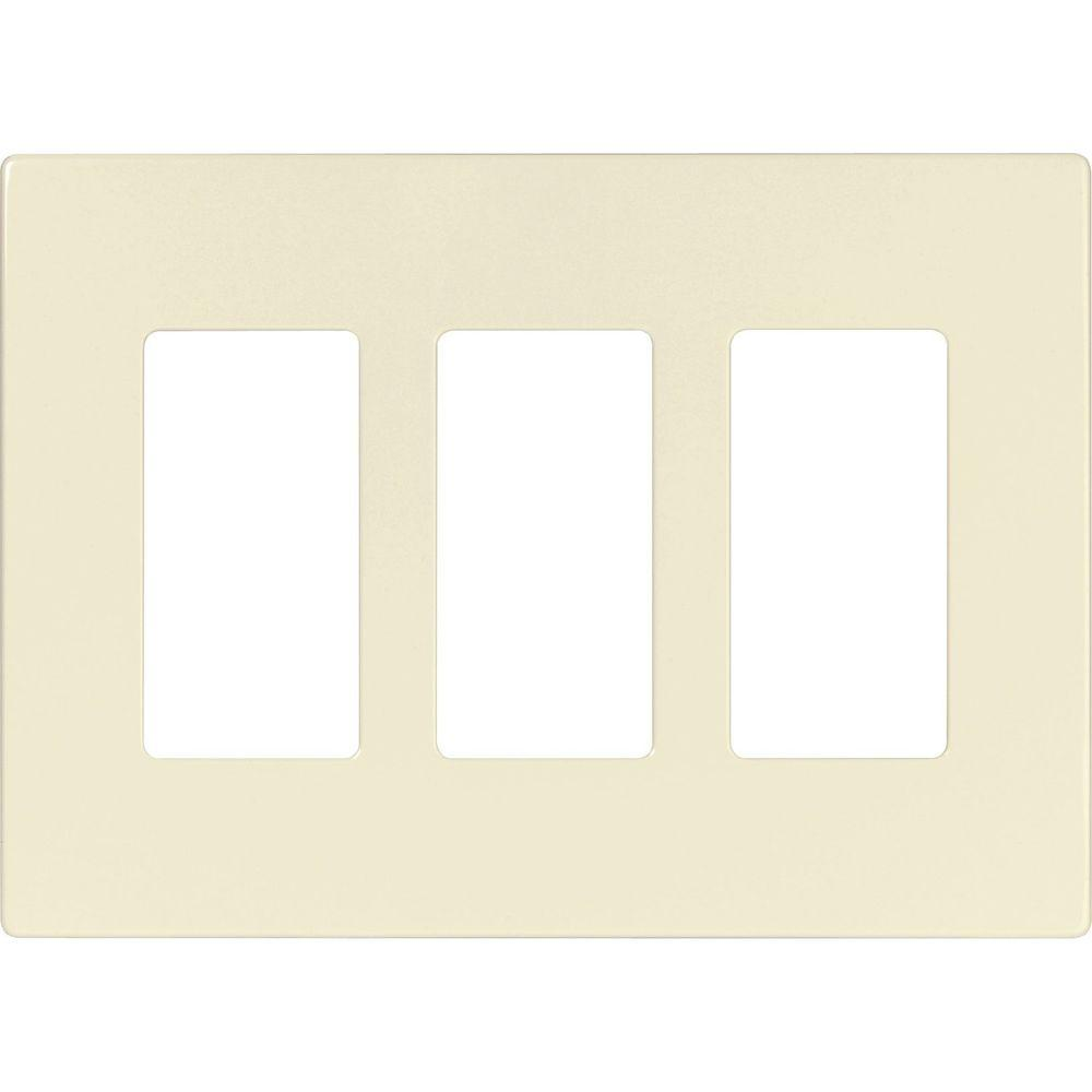 3 Gang Screwless Decorator Polycarbonate Wall Plate - Light Almond