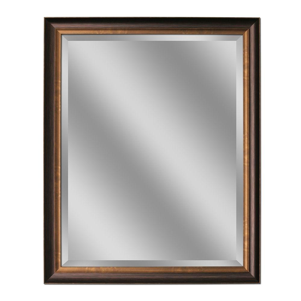 Deco mirror 32 in l x 26 in w framed wall mirror in oil - Oil rubbed bronze bathroom mirrors ...