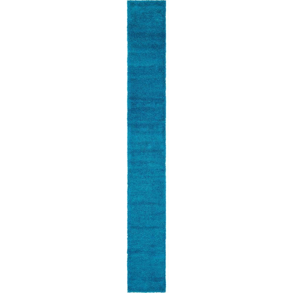 Solid Shag Turquoise 19 ft. Runner Rug