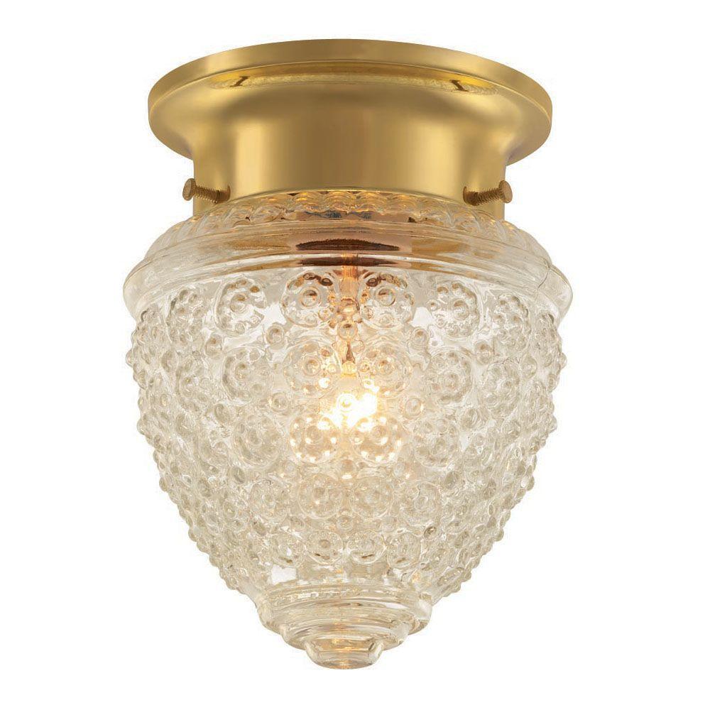 1-Light Polished Brass Flush Mount Light with Acorn Shaped Glass Shade