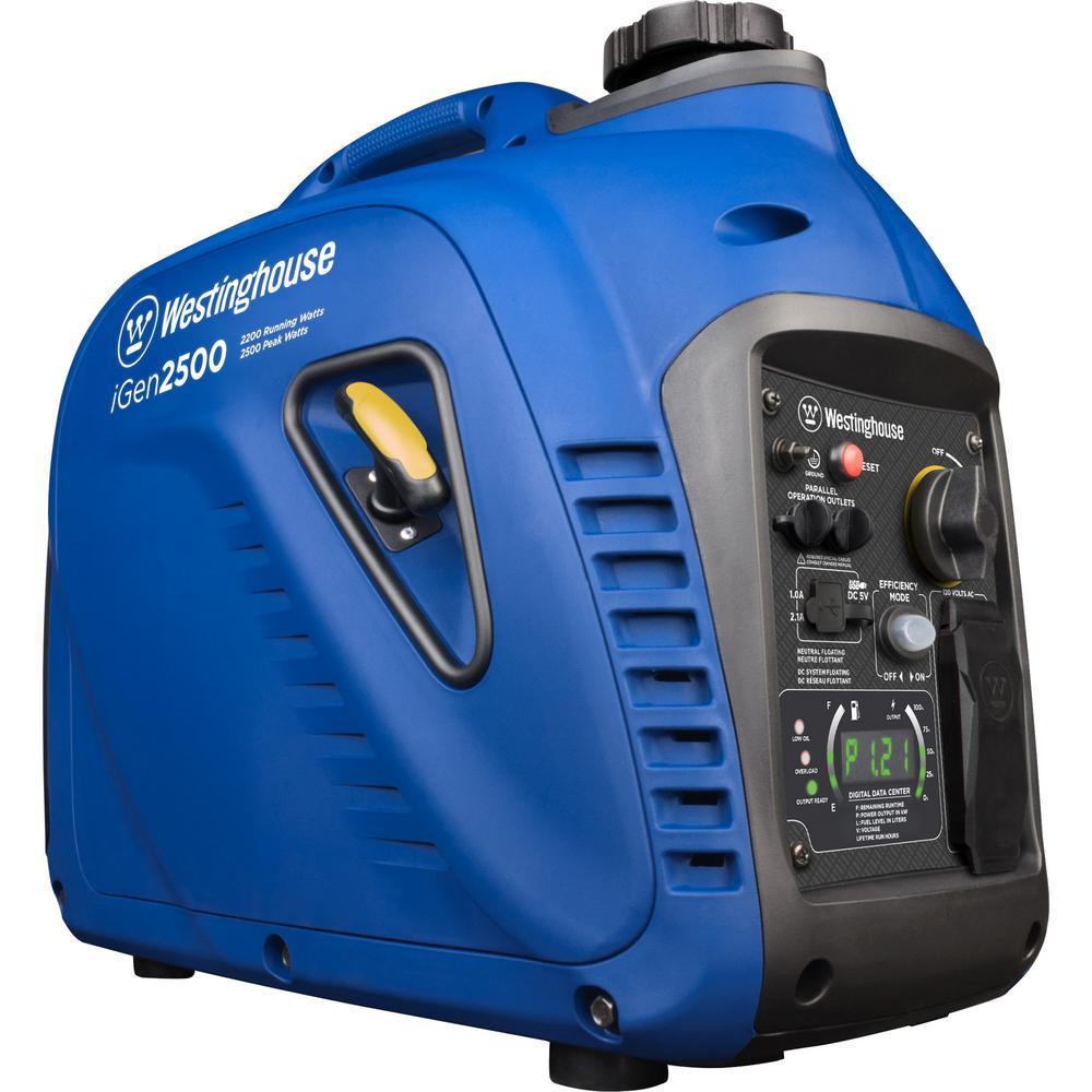 Westinghouse iGen2500 2,500/2,200-Watt Super Quiet Gas Powered Inverter Generator with LED Display and Enhanced Fuel Efficiency
