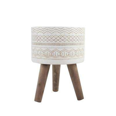 10 in. White Tribal Fiberglass Pot with Wood Stand Mid-Century Planter