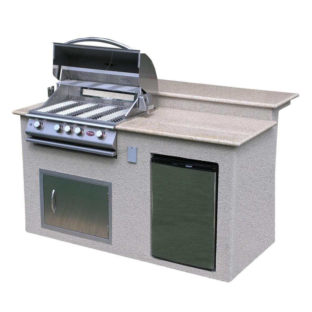 cal flame outdoor kitchen 4 burner barbecue grill island with refrigerator e6016 the home depot. Black Bedroom Furniture Sets. Home Design Ideas
