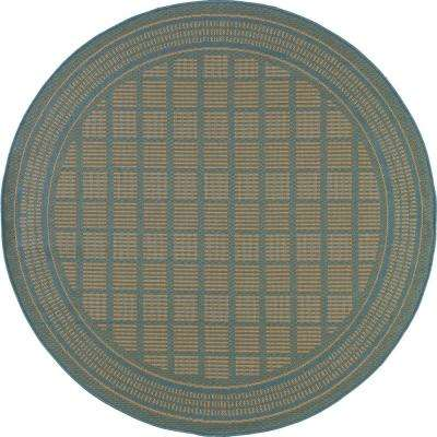 Plymouth Basket Blue 8 ft. x 8 ft. Round Indoor/Outdoor Area Rug