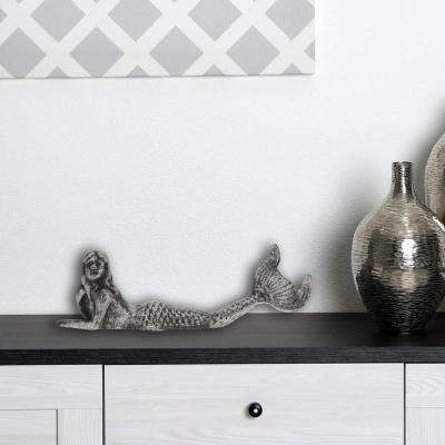 9.5 in. x 3 in. Pewter Cast Iron Mermaid Decor