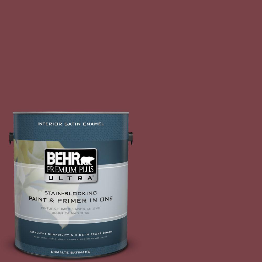 BEHR Premium Plus Ultra 1-Gal. #PPU1-13 Spiced Wine Satin Enamel Interior Paint