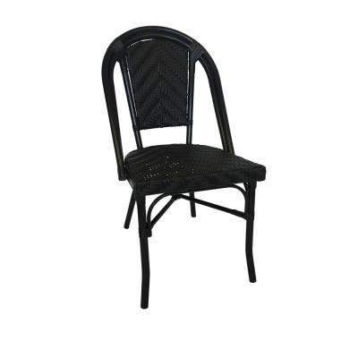 Black Frame, Stackable Black Aluminum and Black Plastic Wicker Bistro Commercial Grade Outdoor Dining Chair