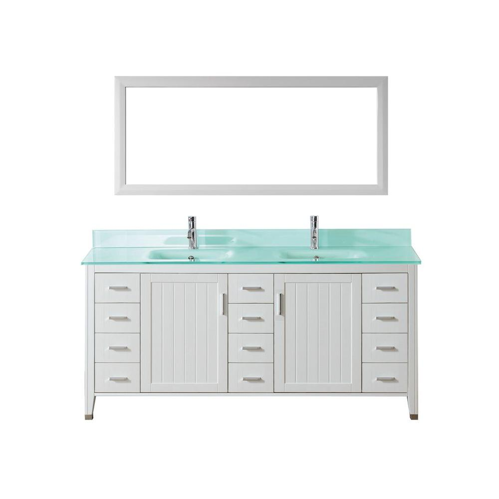 Jackie 72 in. Vanity in White with Glass Vanity Top in