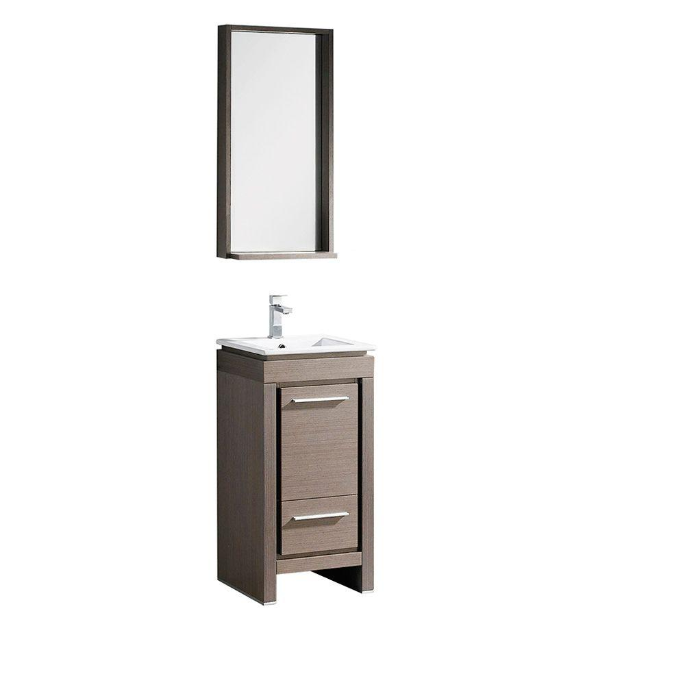 16 Inch Vanity Sink Part - 32: Fresca Allier 16 In. Vanity In Gray Oak With Ceramic Vanity Top In White  With White Basin And Mirror-FVN8118GO - The Home Depot