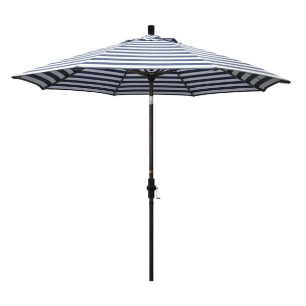 9 ft. Aluminum Market Collar Tilt - Bronze Patio Umbrella in Navy White Cabana Stripe Olefin