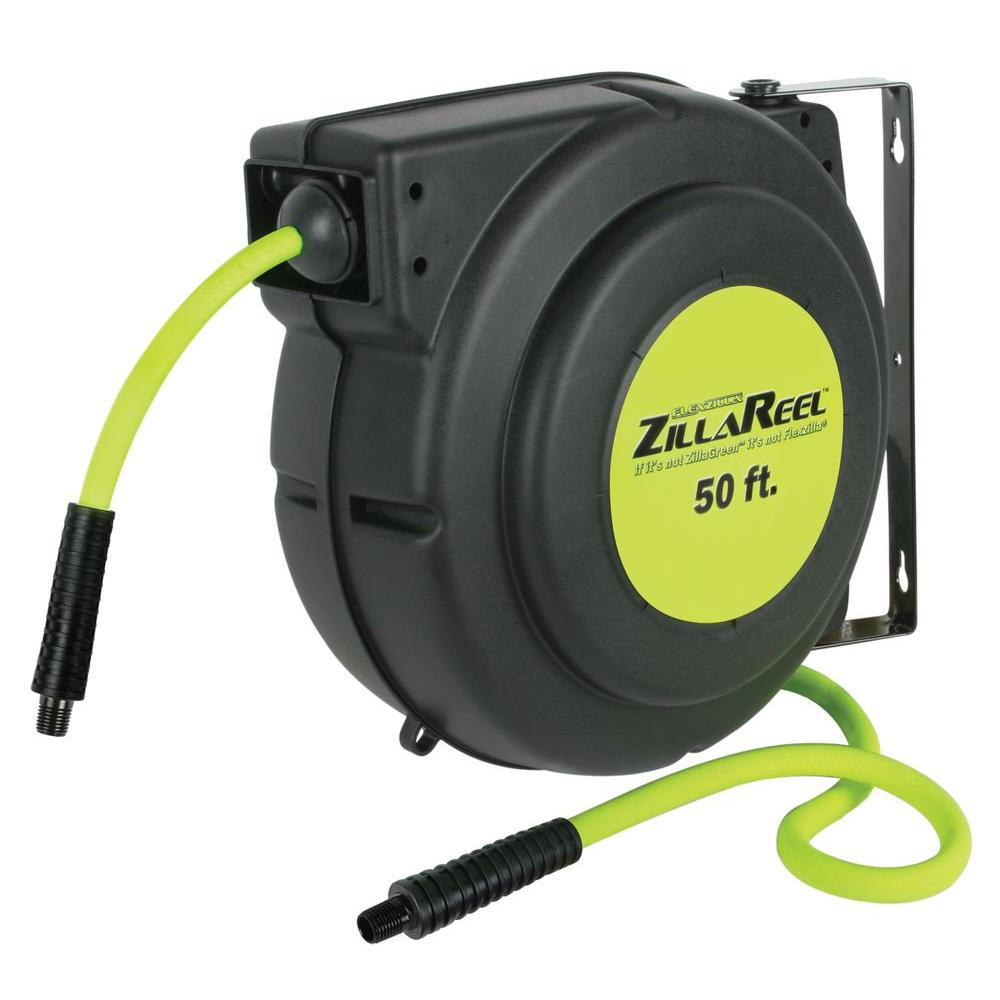 Enclosed Plastic Air Reel  sc 1 st  The Home Depot & Flexzilla ZillaReel 3/8 in. x 50 ft. Enclosed Plastic Air Reel ...