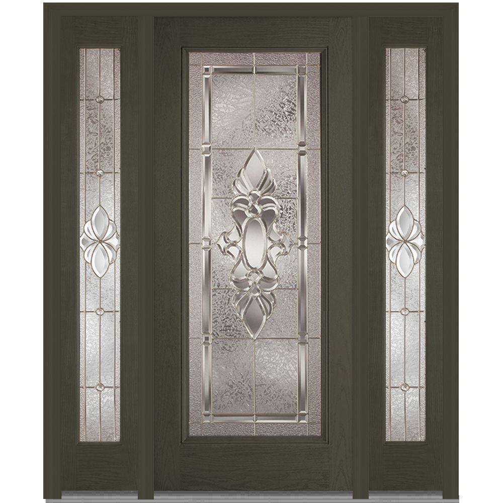 MMI Door 60 in. x 80 in. Heirloom Master Right-Hand Full Lite Decorative Stained Fiberglass Oak Prehung Front Door with Sidelites