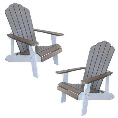 Driftwood with White Accents 2-Tone Outdoor Adirondack Chair with Durable Faux Wood Construction (2-Piece Set)