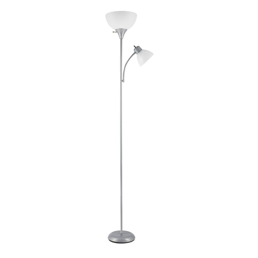 Globe Electric Delilah 72 In Silver Torchiere Floor Lamp With Adjule Reading Light