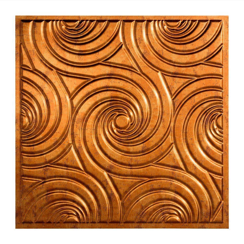 Fasade Typhoon - 2 ft. x 2 ft. Vinyl Lay-In Ceiling Tile in Muted Gold