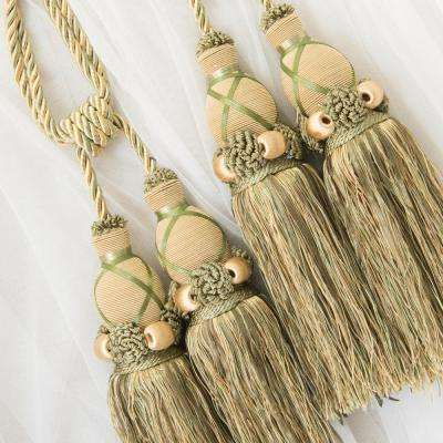 Handcrafted 27 in. L Dual Tassel Knit Curtain Tieback in Sage (2-Pack)