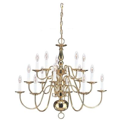Traditional 15-Light Polished Brass Multi-Tier Chandelier