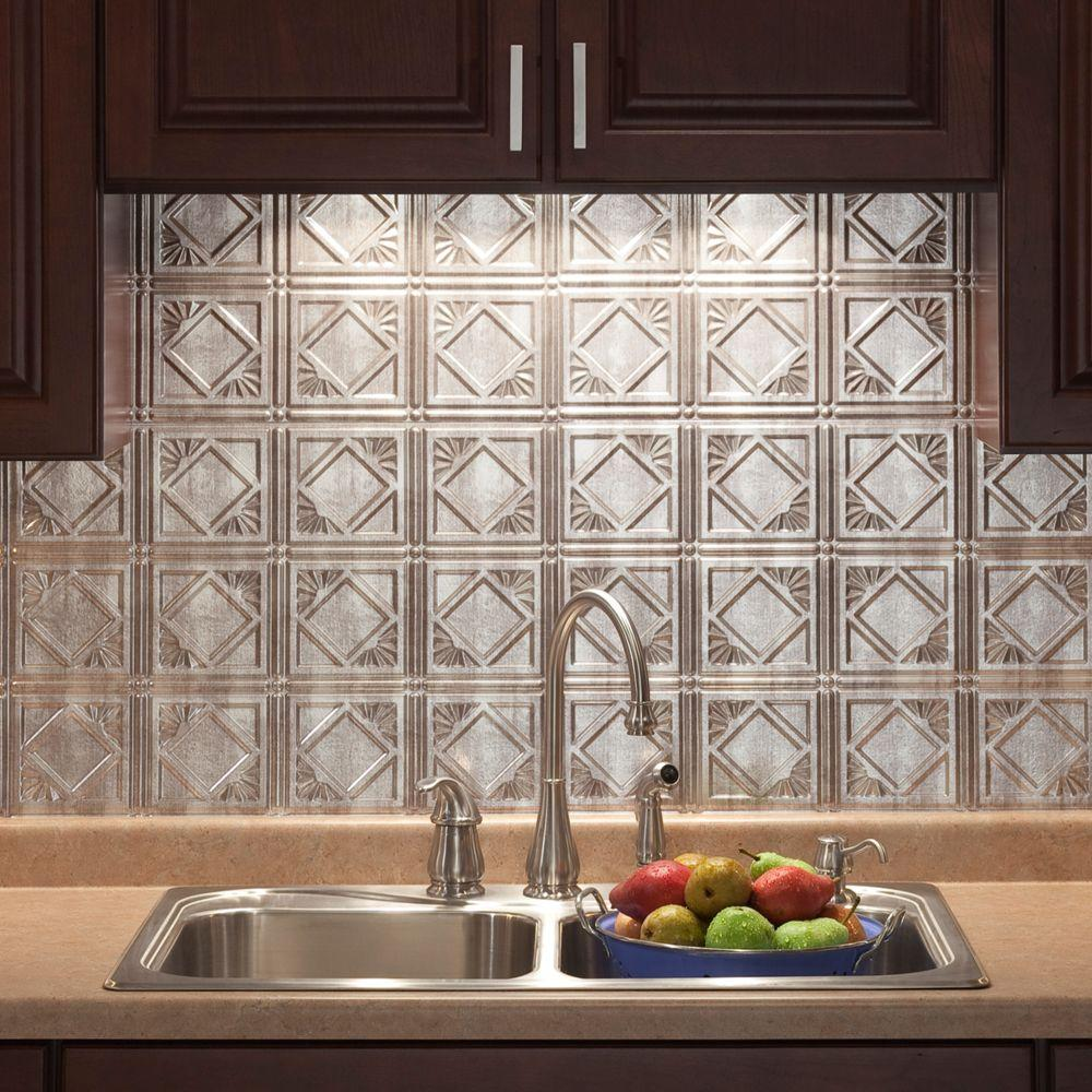 19 in. x 24 in. Traditional Style # 4 PVC Decorative Backsplash Panel in  Crosshatch Silver