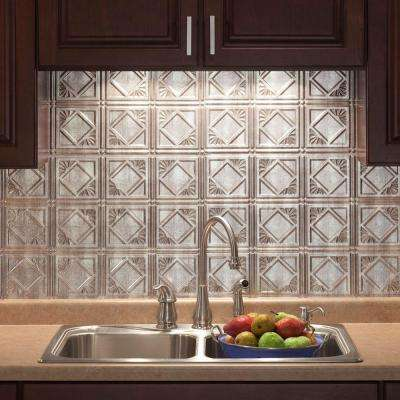 18 in. x 24 in. Traditional 4 PVC Decorative Backsplash Panel in Crosshatch Silver