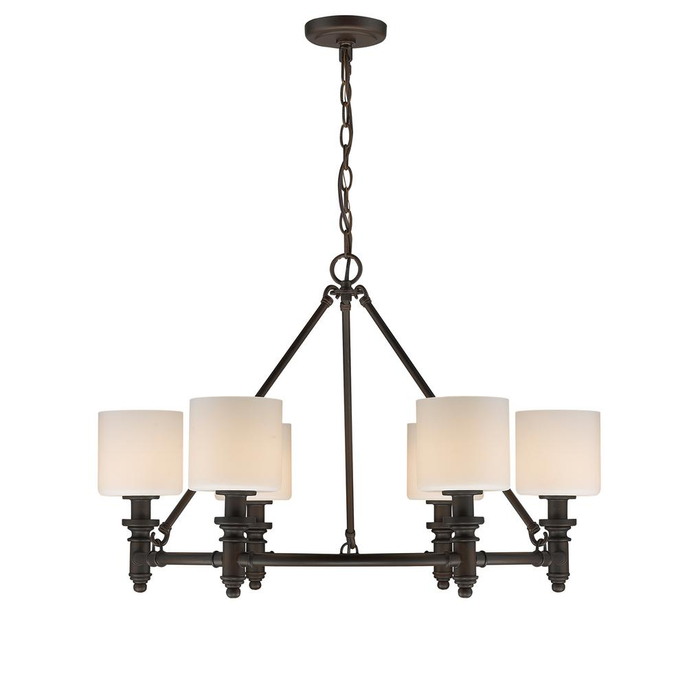 Beckford RBZ 6-Light Rubbed Bronze Chandelier with Opal Glass Shade