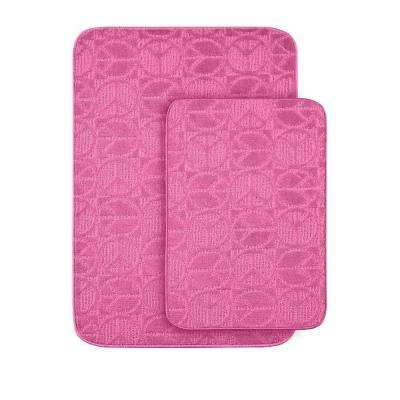 Peace Pink 20 in x 30 in. Washable Bathroom 2 -Piece Rug Set
