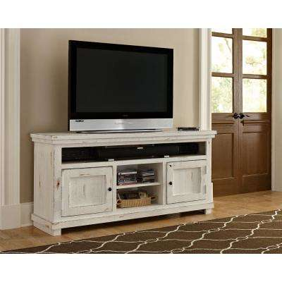 Willow 64 in. Distressed White Entertainment Console