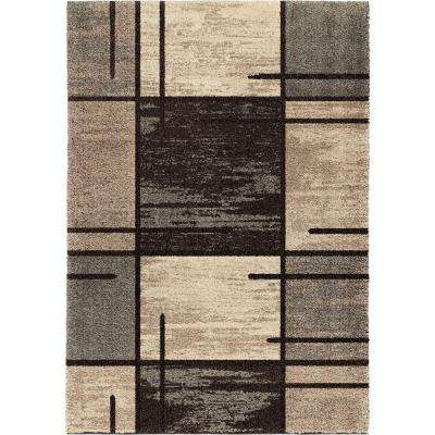 Fleet Gray 5 ft. 3 in. x 7 ft. 6 in. Plush Pile Blocks Indoor Area Rug