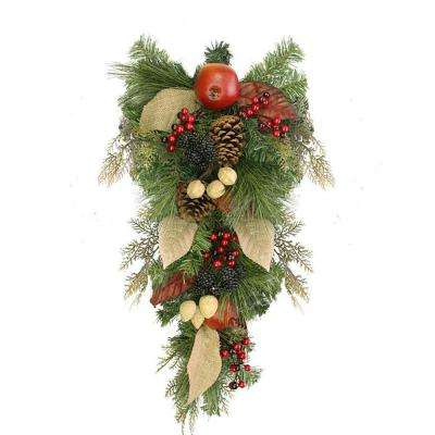 24 in. Unlit Autumn Harvest Mixed Pine Berry and Nut Thanksgiving Fall Teardrop Swag
