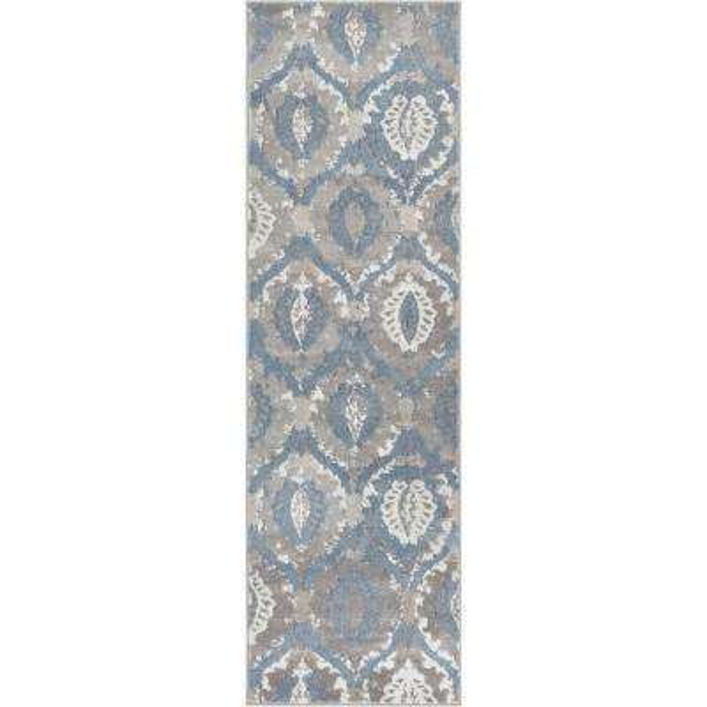 Pearl Felize 2 ft. 3 in. x 7 ft. 3 in. Modern Ikat Trellis Ogee Vintage Distressed Soft Blue Runner Rug