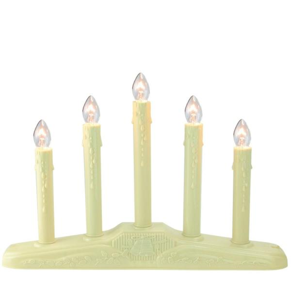 10 in. 5-Light Christmas Candolier with Candles on Holly Berry and Bell Base Candle Lamp