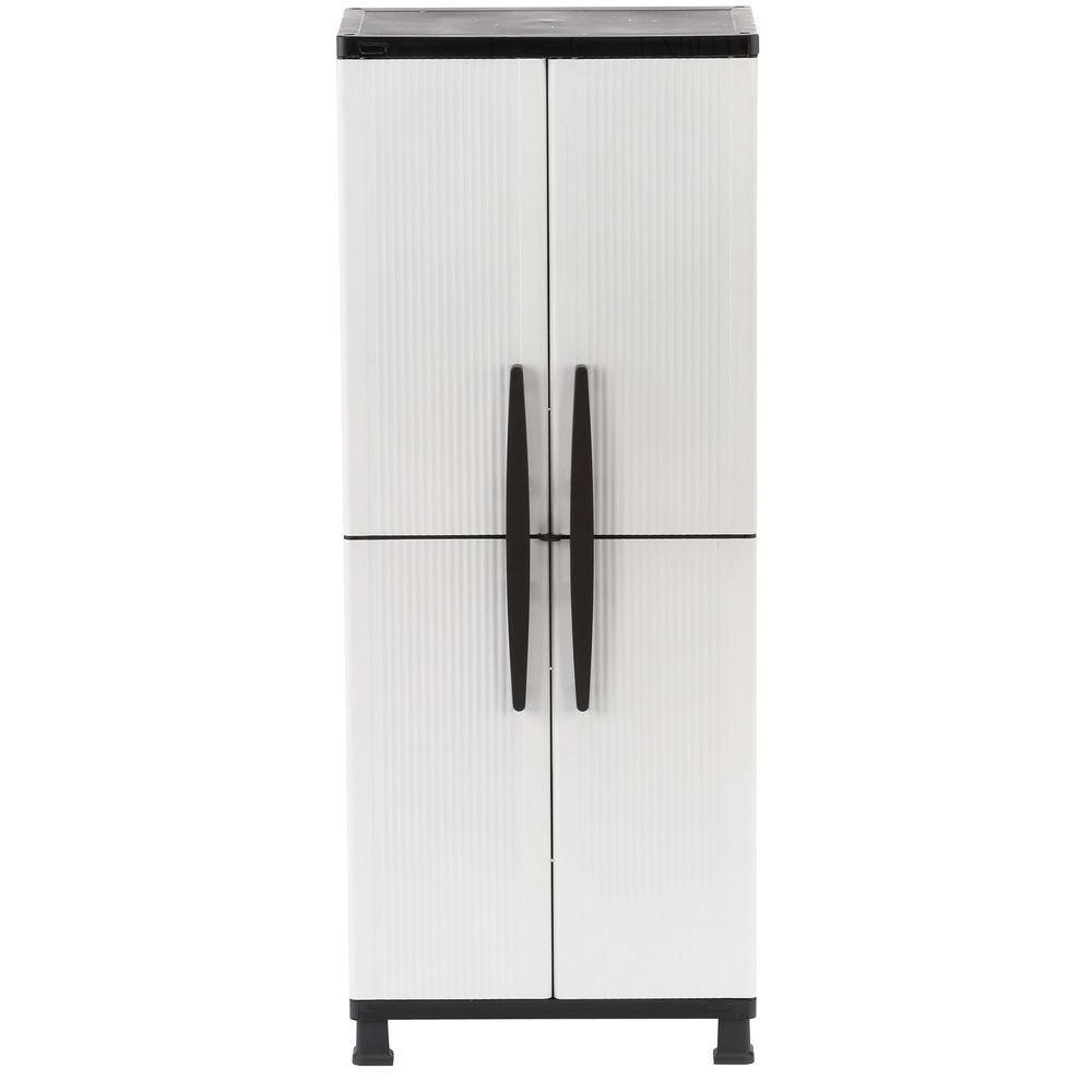 27 in. W 4 Shelf Plastic Multi-Purpose Cabinet in Gray
