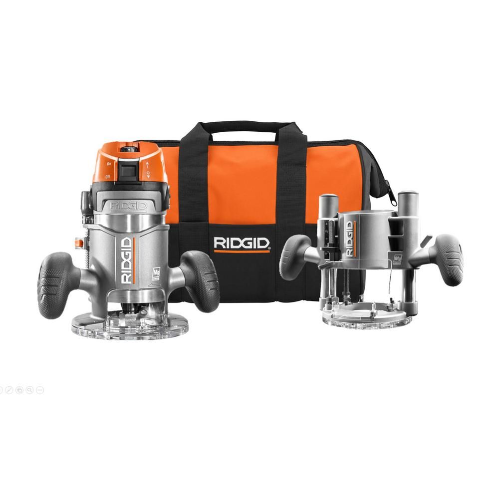 RIDGID 11 Amp 2 HP 1/2 in. Heavy-Duty Fixed and Plunge Base Corded Router