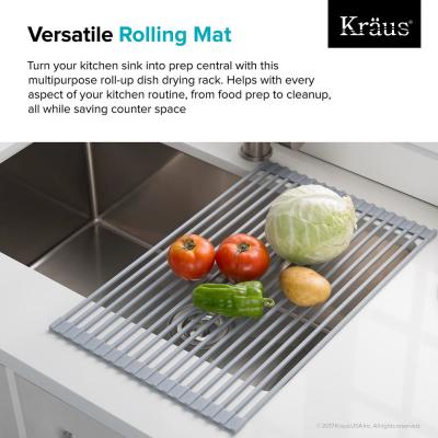 KRAUS 20 5 in  Over Sink Roll Up Dish Drying Rack in Grey