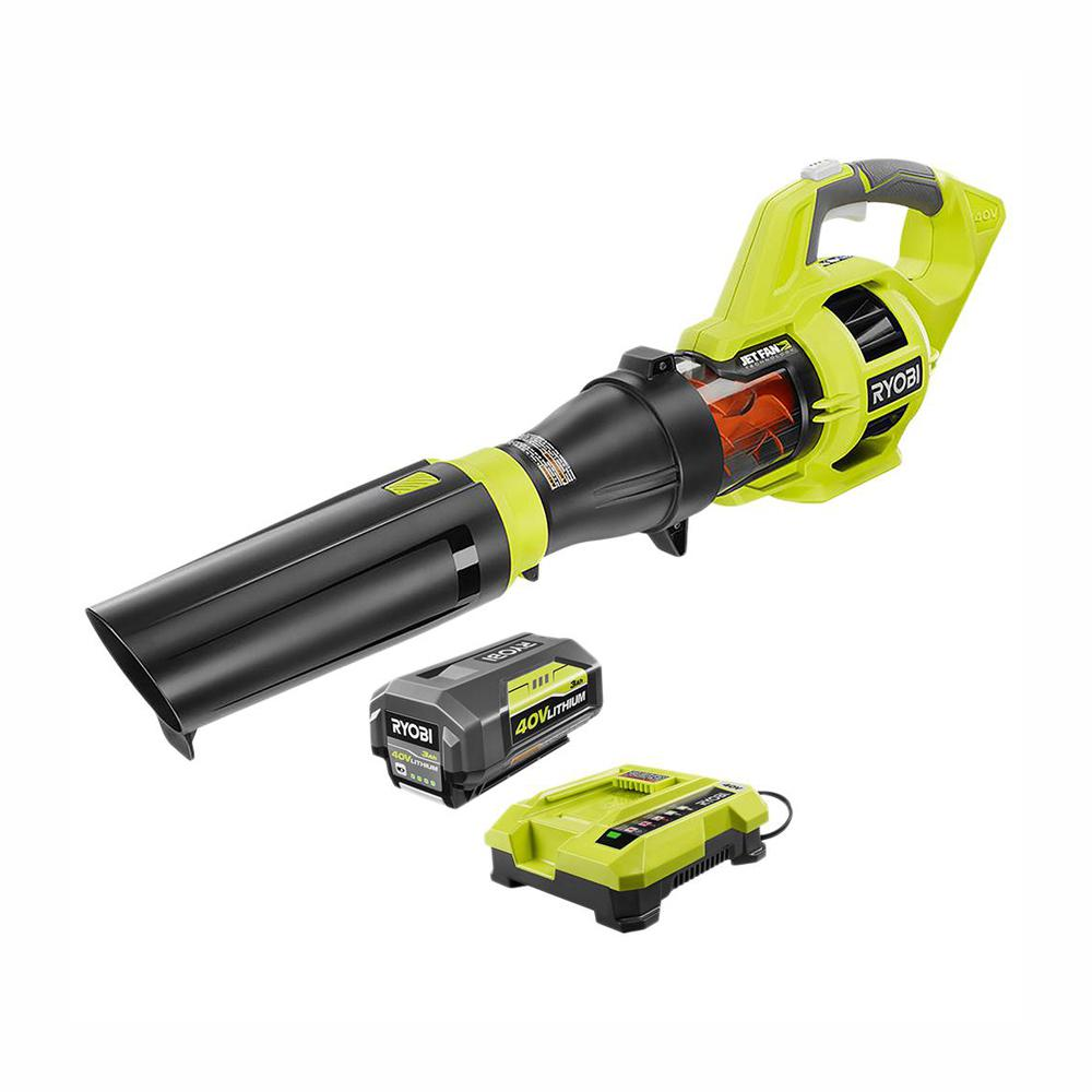 RYOBI RYOBI 110 MPH 480 CFM Variable-Speed 40-Volt Lithium-Ion Cordless Jet Fan Leaf Blower - 3.0 Ah Battery and Charger Included