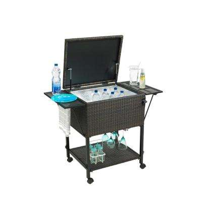 80 Qt. 35 in. x 44 in. x 21.75 in. Rattan and Aluminum Chest Cooler Cart