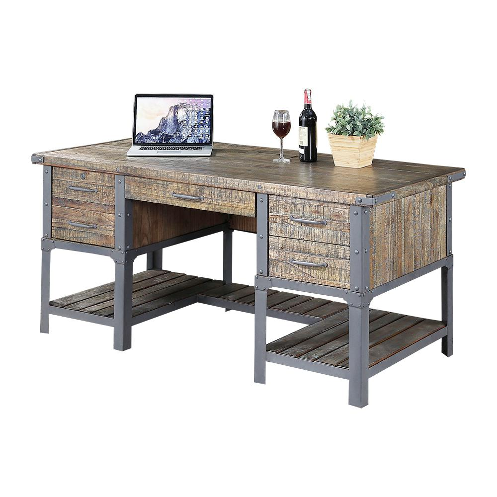 Turnkey Revival Quenby Finish Executive Desk Brown