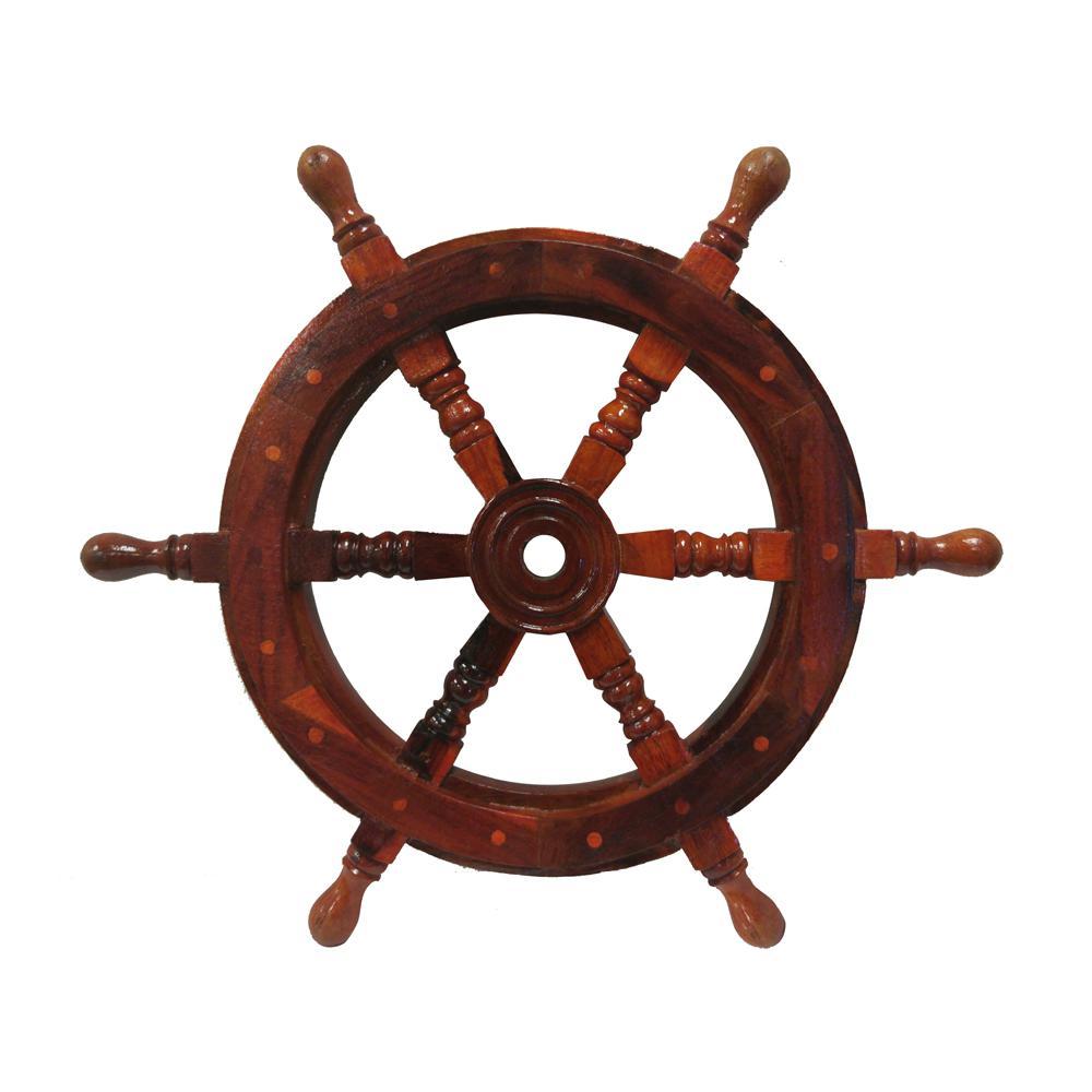 Benzara 18'' Brown Nautical Ship Wheel with Wooden Center NAU-SH87620