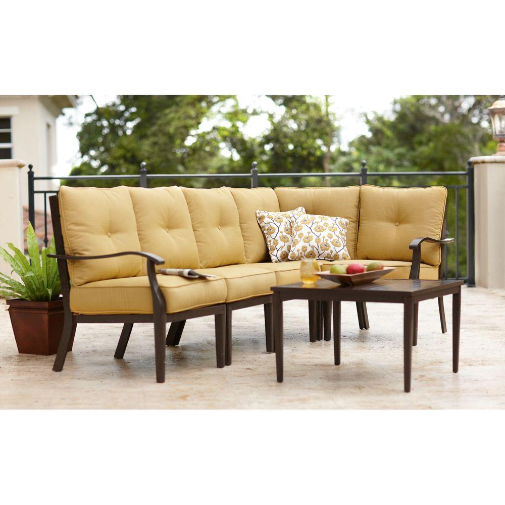 Home Decorators Collection Grayton 6-Piece Daffodil Patio Sectional Sofa