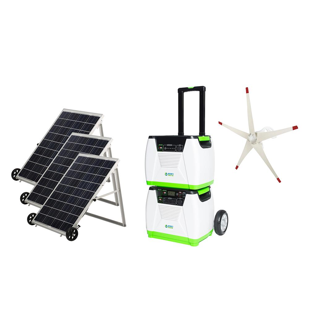 NATURE'S GENERATOR 1800-Watt Solar Powered Electric Start Portable Generator with Supplemental Power Pod and Wind Turbine