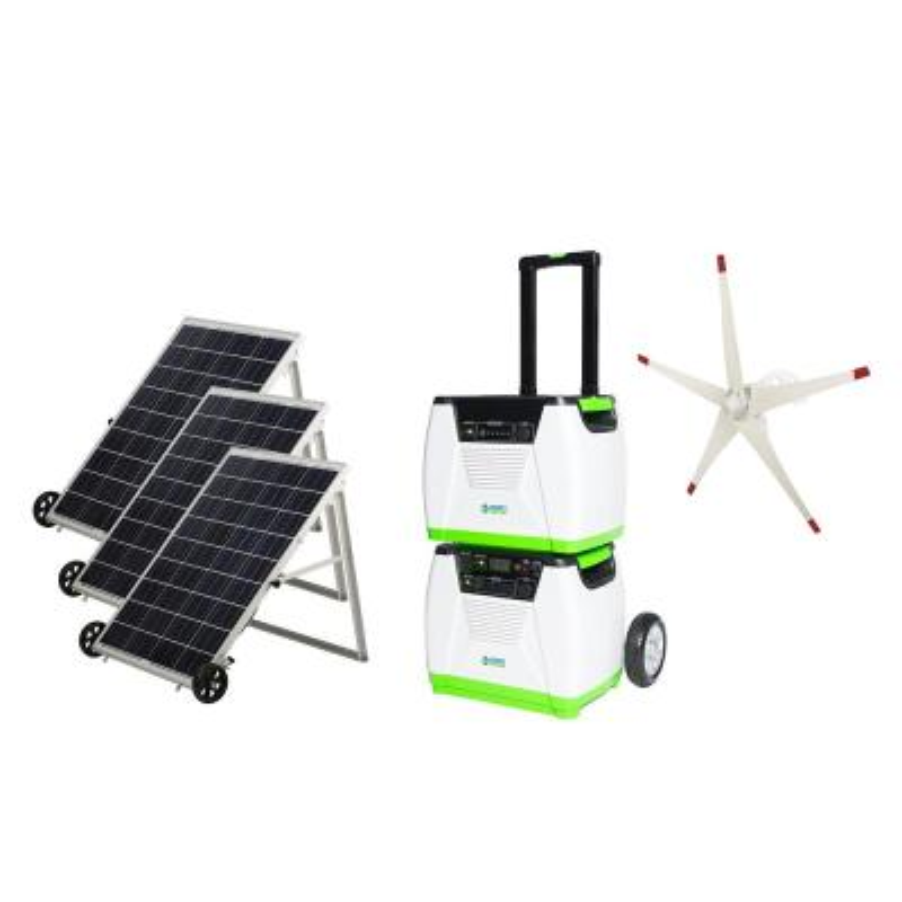 1800-Watt Solar Powered Electric Start Portable Generator with Supplemental Power Pod and Wind Turbine