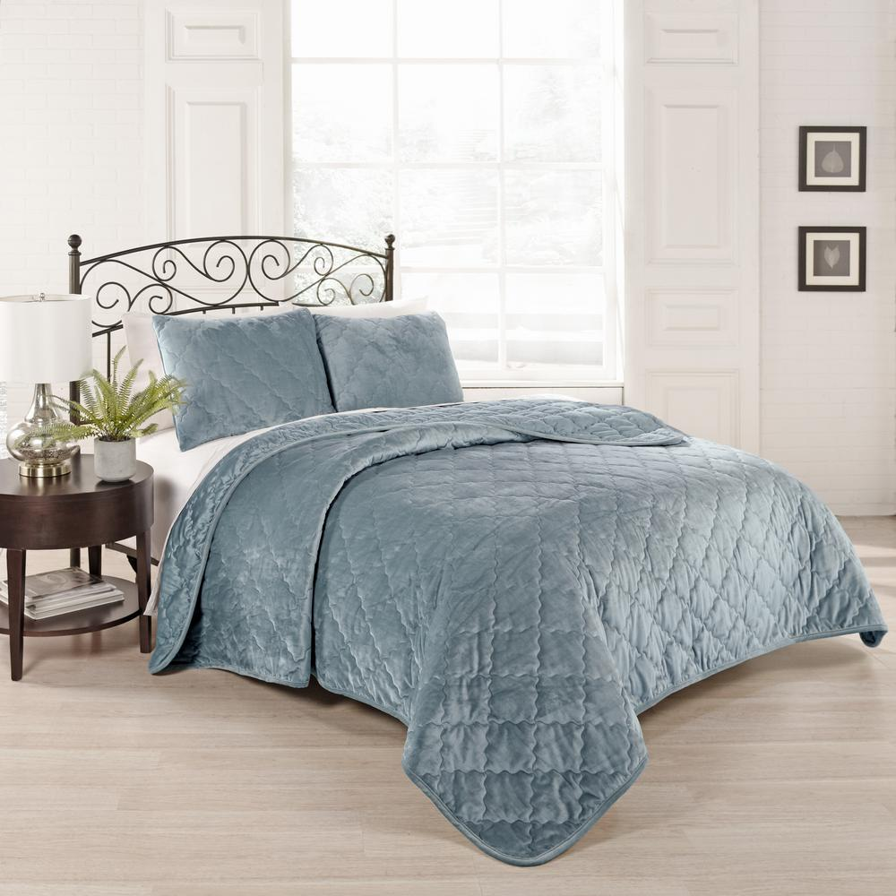 Collette 3-Piece Blue King Coverlet Set