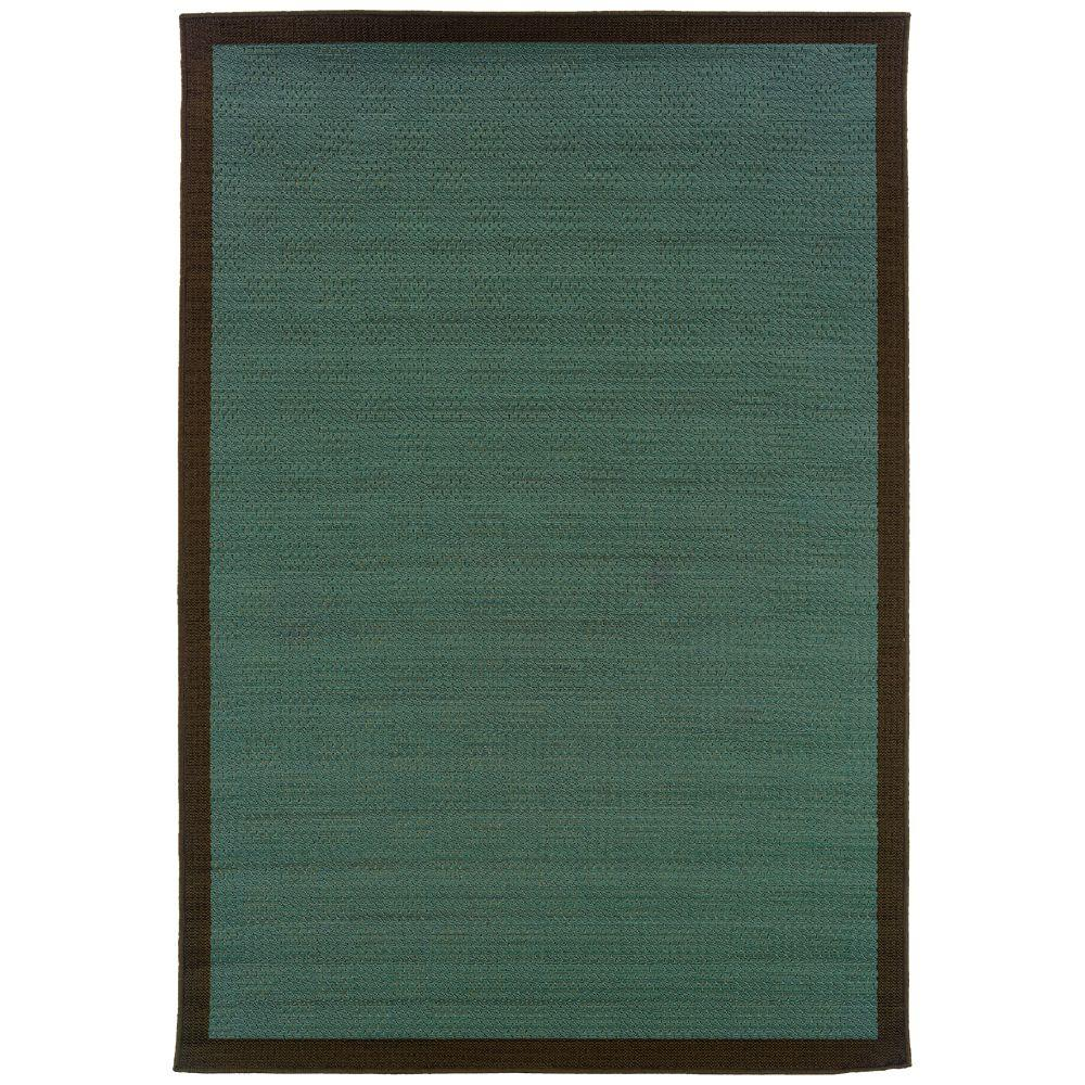 Oriental Weavers Nevis Boardwalk Blue and Chocolate 5 ft. 3 in. x 7 ft. 6 in. Area Rug