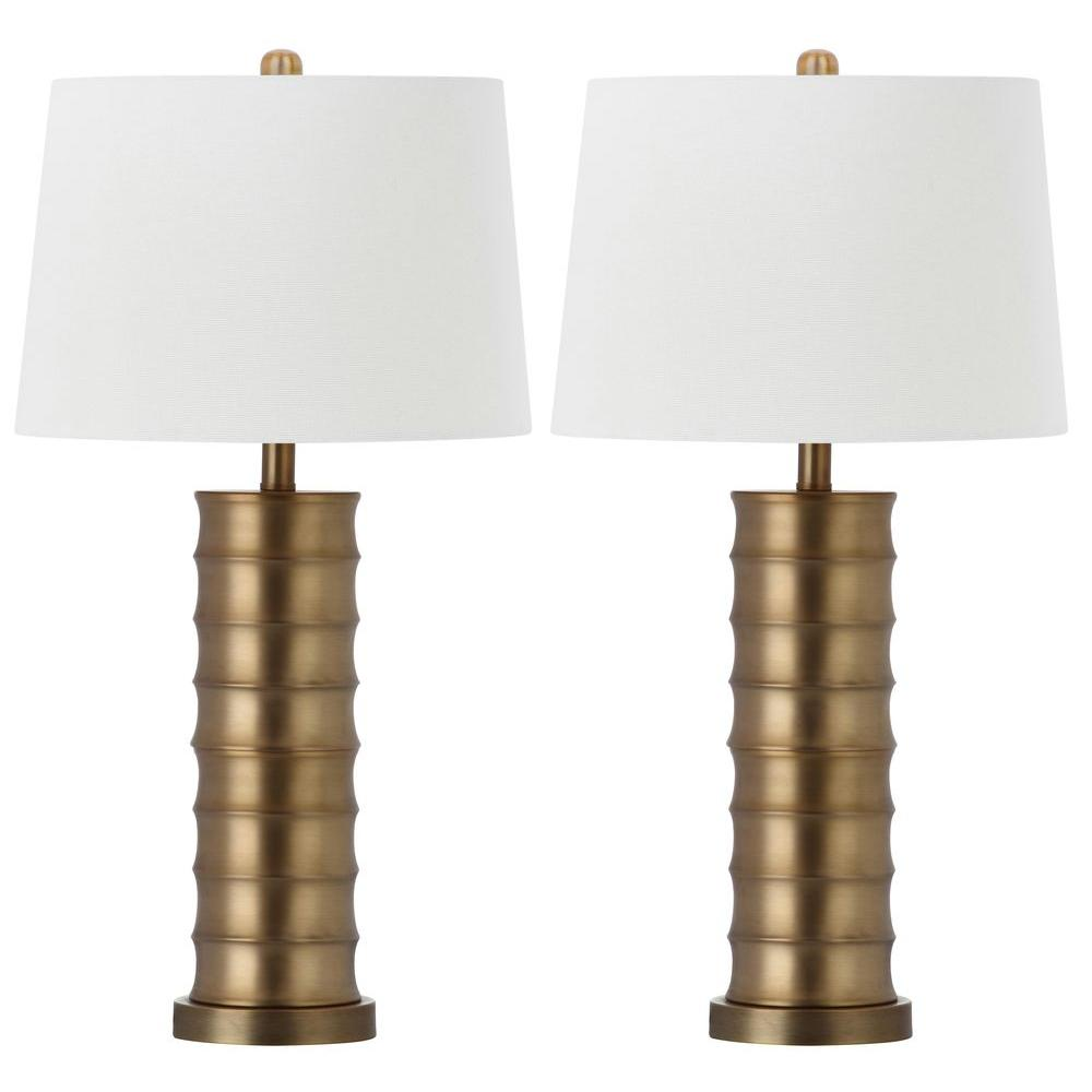 Superb Safavieh Linues Brass Column 28.5 In. Gold Table Lamp With White Shade (Set  Of