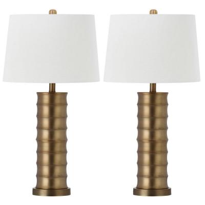 Linues Brass Column 28.5 in. Gold Brass Table Lamp with White Shade (Set of 2)