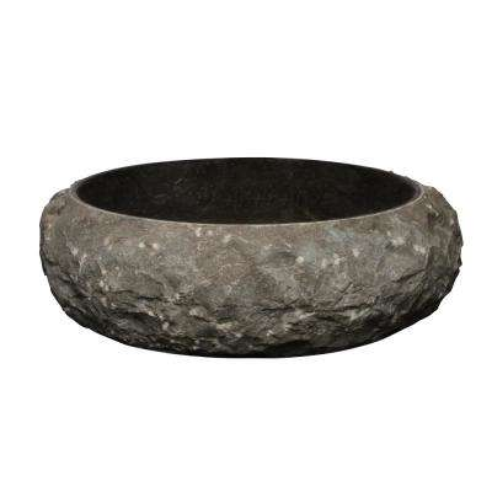 LaPaz Chiseled Marble Vessel Sink in Black