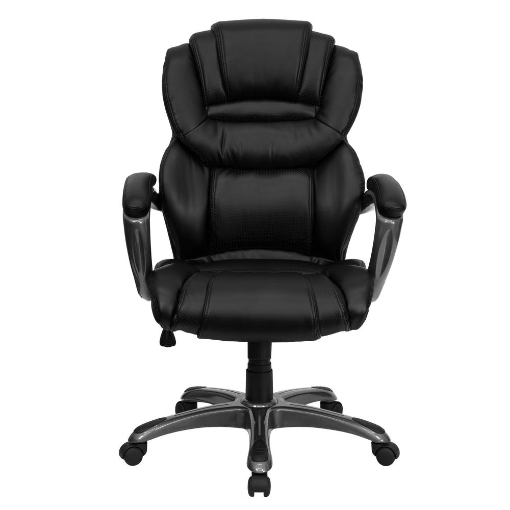 Flash Furniture High Back Black Leather Executive Swivel Office Chair With Padded Loop Arms