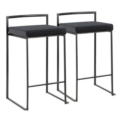 Fuji 26 in. Black Stackable Counter Stool with Black Velvet Cushion (Set of 2)