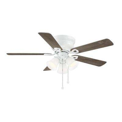 Clarkston II 44 in. LED Indoor White Ceiling Fan with Light Kit