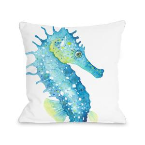 Oversized Seahorse 16 In X 16 In Decorative Pillow